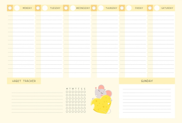 Week timetable and habit tracker with little mouse flat vector template.