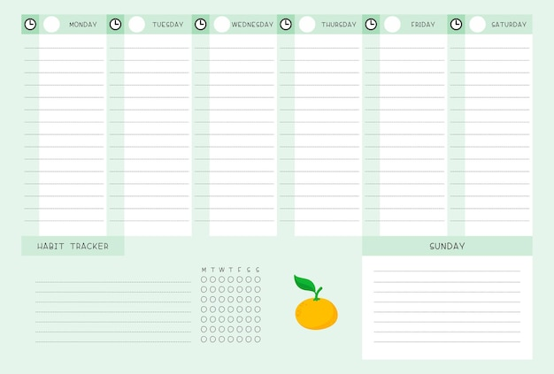 Week timetable and habit tracker with tangerine template. calendar design with citrus cartoon illustration. personal tasks organizer blank page for planner