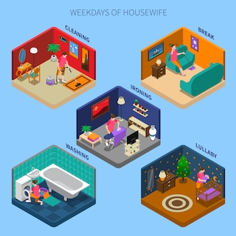 Weekdays of housewife isometric scenes