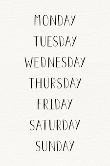 The weekdays typography set
