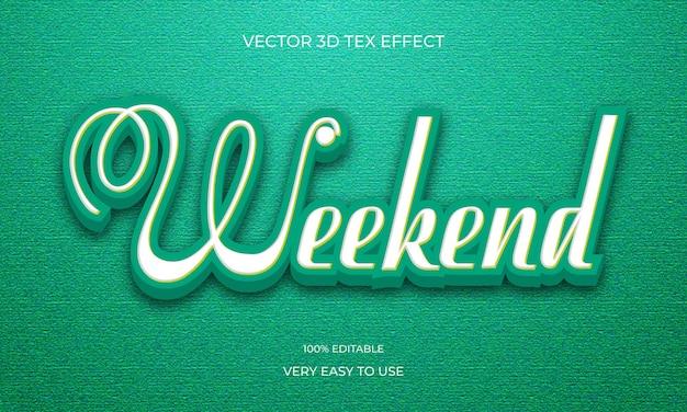 주말 3d 텍스트 효과 디자인