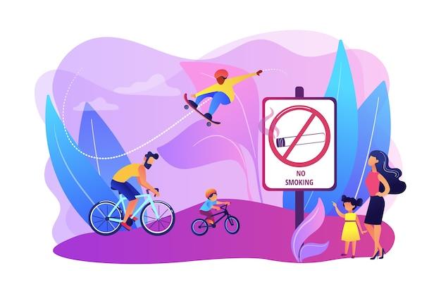 公園での週末の活動。父は息子と一緒に自転車に乗る。アクティブで健康的な趣味。禁煙ゾーン、禁煙エリア、タバコのない施設のコンセプト。明るく鮮やかな紫の孤立したイラスト