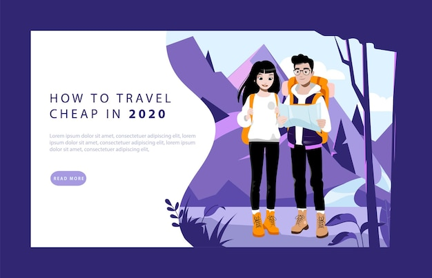 Выходные приключение и концепция пеших прогулок. целевая страница веб-сайта. пара молодых туристов с рюкзаками. мужские и женские персонажи отправляются в поход по горам. веб-страница мультфильм плоский векторные иллюстрации.