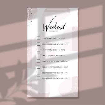 Weekend checklist