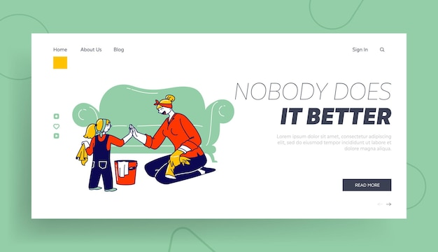 Weekend chores and duties landing page template. mother and little daughter characters household activities