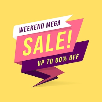 Weekend mega sale banner template in flat style.