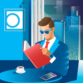 Weekend morning lifestyle scene of adult businessman reading book in cafe.flat vector illustration