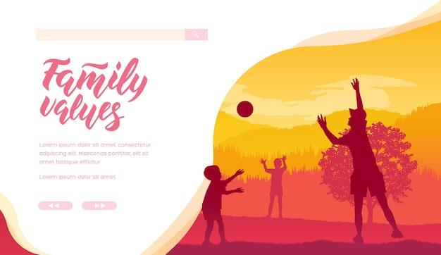 子供のための週末の野外活動ウェブバナーレイアウトデザイン。親子関係、父権のウェブサイト