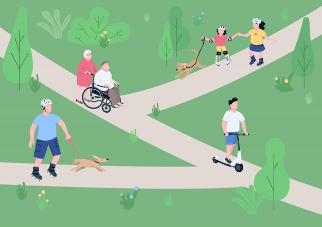 Weekend relax in park  color  illustration.