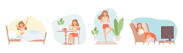 Выходные расслабиться. сидеть дома, период изоляции. одинокая женщина ест, смотрит телевизор, занимаясь йогой, векторные иллюстрации. расслабляющий образ жизни, сидячий релаксационный уик-энд