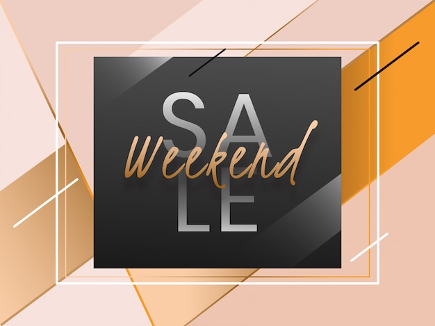 Weekend sale banner template design with abstract geometric dynamic.
