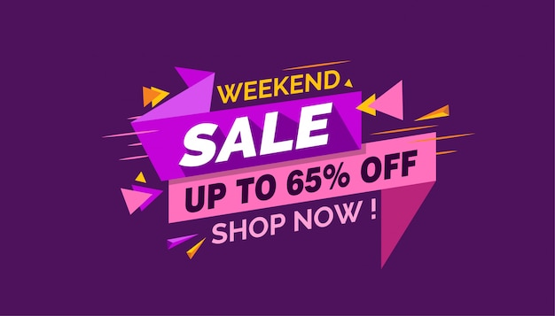 Weekend sale, colorful sale banner