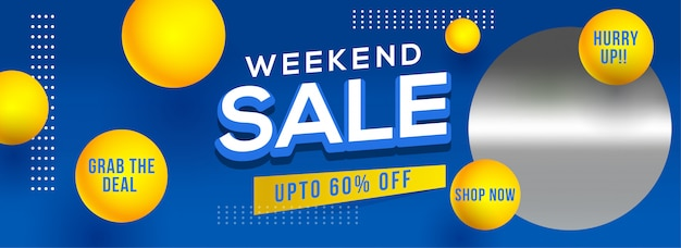 Weekend sale header or banner design with 60% discount offer and