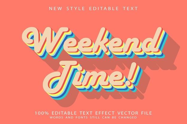 Редактируемый текстовый эффект выходного дня в винтажном стиле