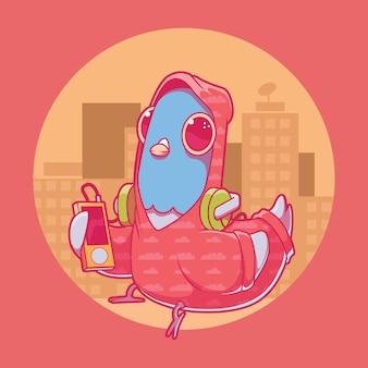 週末のバイブ鳩のイラスト。インスピレーション、リラクゼーション、面白いデザインコンセプト。