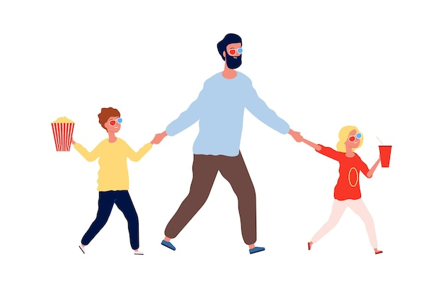 Выходные с отцом. дети человека идут в кино. папа с дочерью и сыном с напитком попкорна в кинотеатре векторные иллюстрации. отец вместе с ребенком переходят в кино, чтобы смотреть фильм