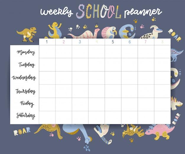 Еженедельный и ежедневный планировщик страницы дизайн шаблона детский календарь. симпатичные рисованной маленьких персонажей динозавров. снова в школу дизайна.