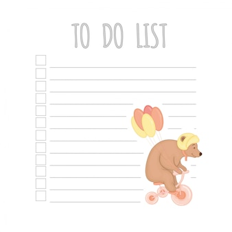Weekly children's planner with a bear.