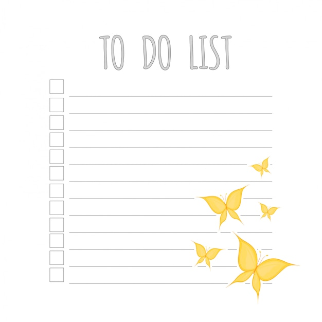 Weekly children's planner with butterfl