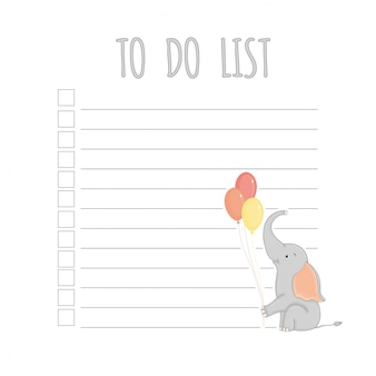 Weekly children's planner with elephant, vector graphics