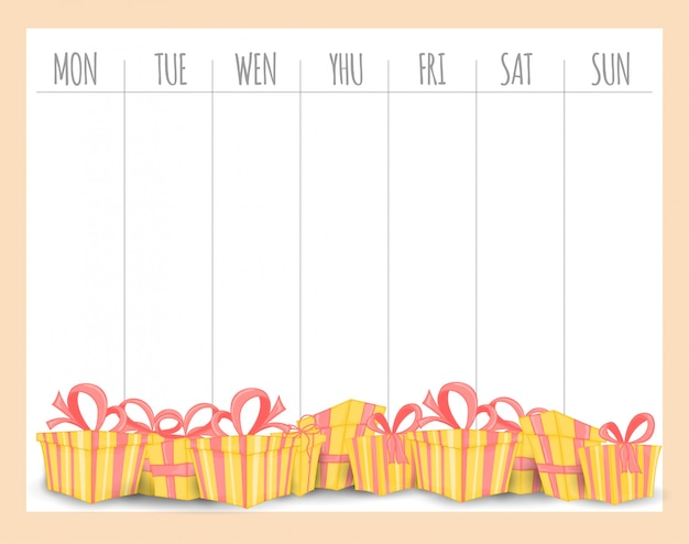 Weekly children's planner with gifts