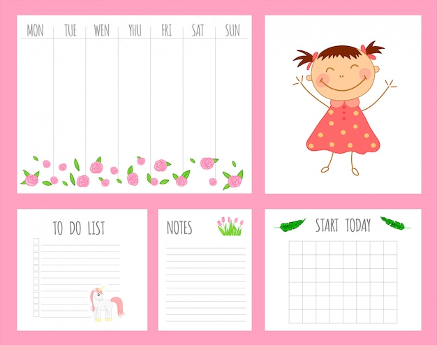 Weekly children's planner with girl, unicorn and flowers