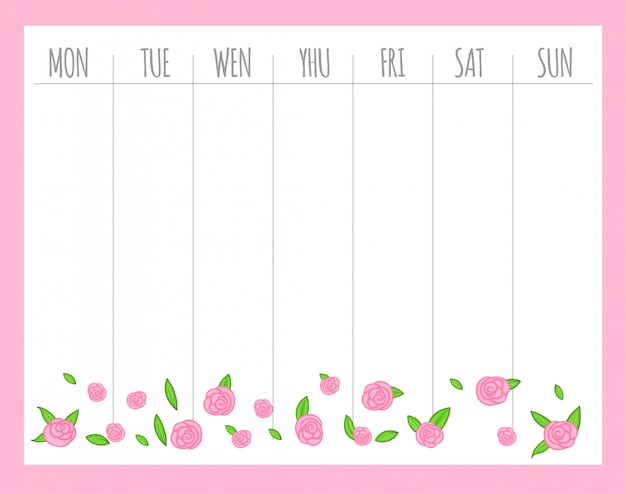 Weekly children's planner with roses, vector graphics