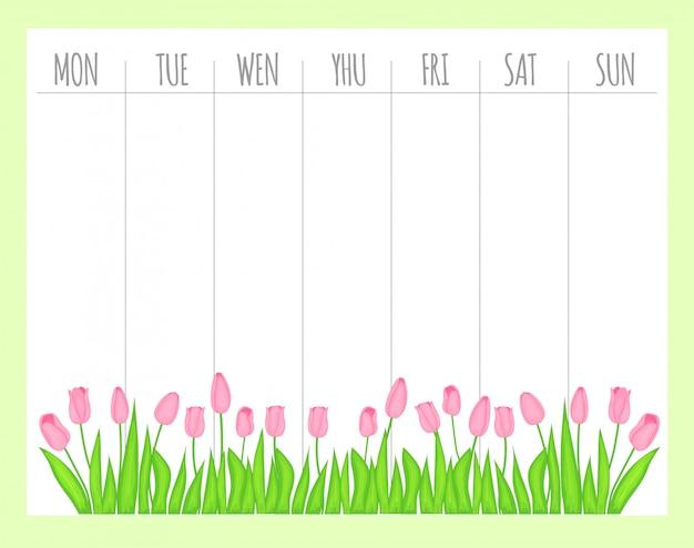 Weekly children's planner with tulips, vector graphics