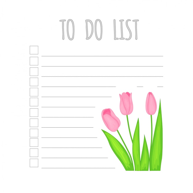 Weekly children's planner with tulips.