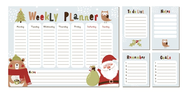 Weekly christmas planner with bear and santa