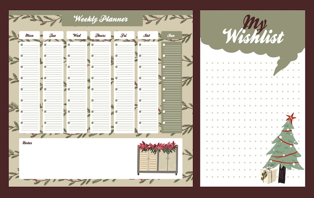 Weekly daily planner christmas cute themed scandinavian style