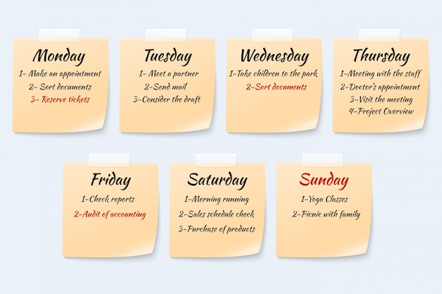 Weekly job plan on sticky notes, ugent work event paper memo vector set