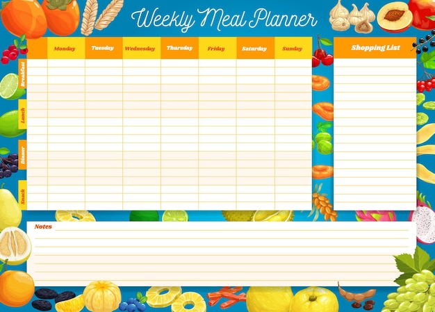 Weekly meal planner, timetable, week food plan organizer. calendar menu for breakfast, lunch, dinner and snack with shopping list for grocery purchases. diary template for personal dieting
