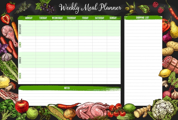 Weekly meal planner, timetable, week food plan