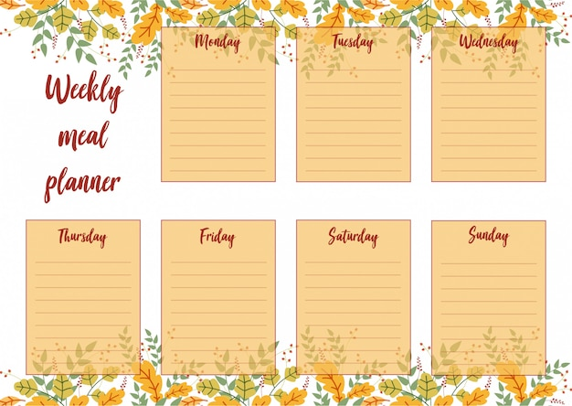 Weekly meal planner with autumn leaves background