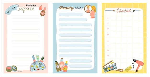 毎日の化粧品の手順が記載された毎週または毎日のノートカード