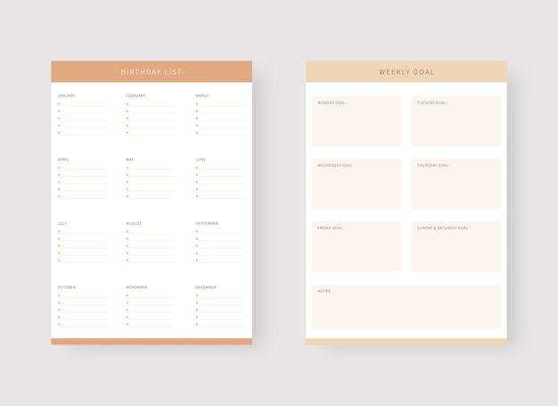 Weekly planner and birthday list template modern planner template set
