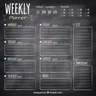 Weekly planner in blackboard