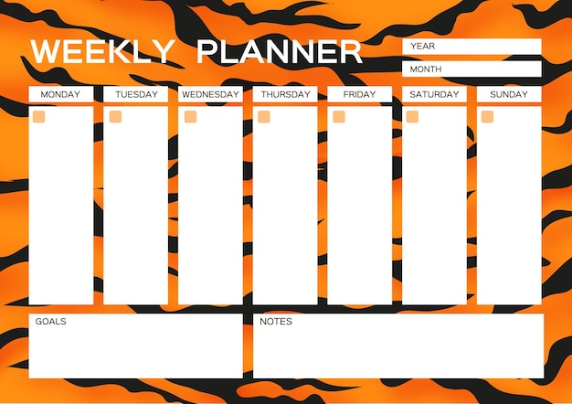 Weekly planner. cute page for notes. notebooks,decals, diary, school accessories. tiger fur. wild animal style. big cat. space for text. white orange black. vector.