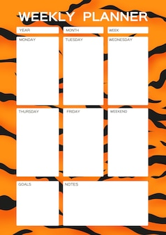 Weekly planner cute page for notes notebooksdecals diary school accessories tiger fur