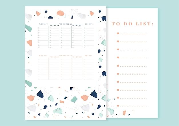 Дизайн еженедельного планировщика и список дел. шаблон модного стиля терраццо.