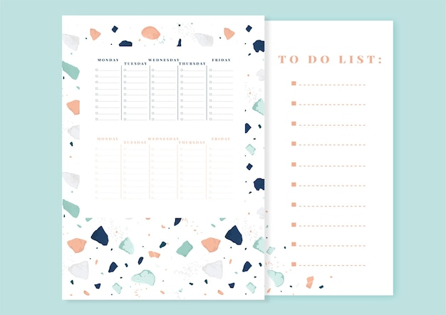 Weekly planner design and to do list. terrazzo trendy style template.