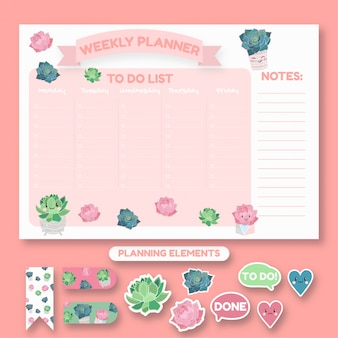 Weekly planner design. trendy style to do list. students planner with succulents.