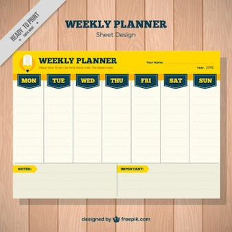 Weekly planner in yellow color