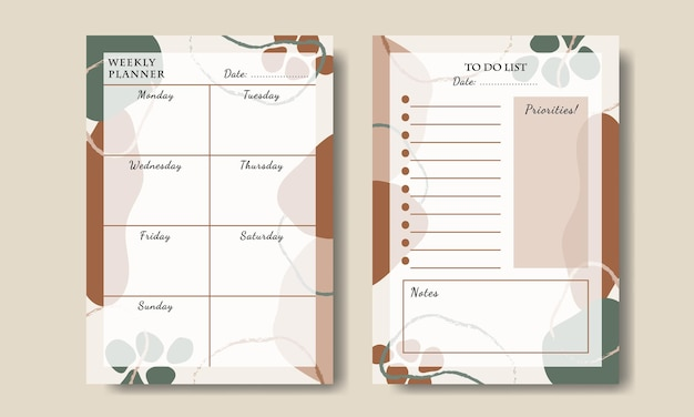 Weekly planner to do list abstract shape printable premium vector