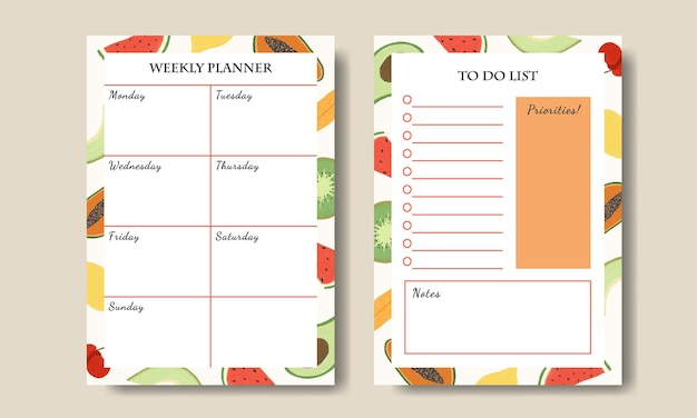 Weekly planner to do list template with fruits illustration background