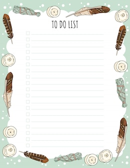 Weekly planner and to do list with candles, feathers and sage smudge sticks doodles. cozy lagom template for agenda, check lists, and stationary. printable mockup witch wiccan witchcraft elements