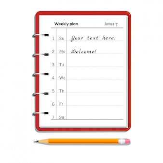 Weekly planner notebook with text and pencil with eraser isolated on white