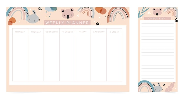 Weekly planner page template, to do list with cute animals in cartoon style. Premium Vector