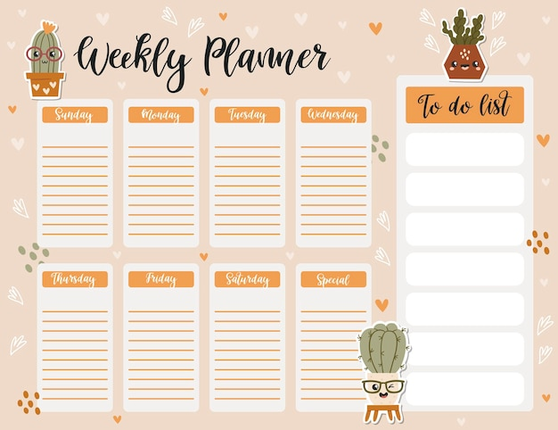 Weekly planner page template, to do list with cute cacti